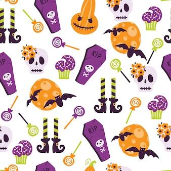 Reticolo senza giunte di halloween con cartoni animati carino zucche fantasmi streghe pipistrelli ossa stelle