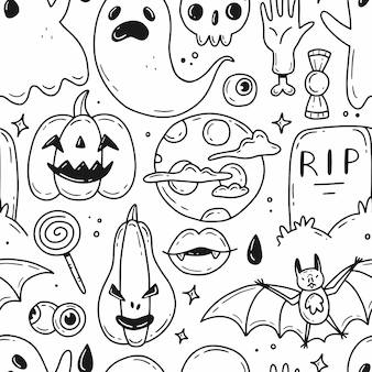 Reticolo senza giunte di halloween con elementi di stile semplice doodle del fumetto