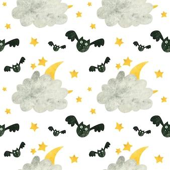 Modello senza cuciture di halloween con pipistrello carino e luna dietro le nuvole carta digitale spettrale