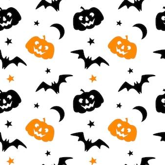 Modello senza cuciture di halloween con la stella della luna del pipistrello della zucca isolata su fondo bianco