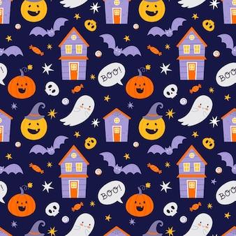 Reticolo senza giunte di halloween con zucche e pipistrelli e altri simboli di halloween.