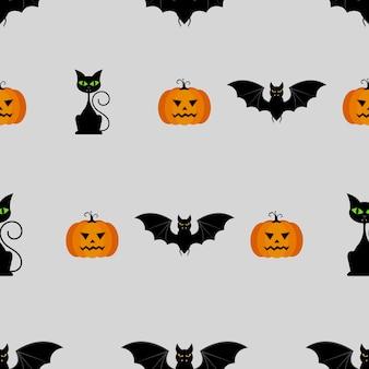 Modello senza saldatura di halloween con zucche, gatto nero e pipistrello