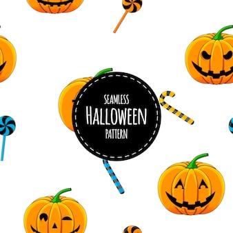 Reticolo senza giunte di halloween con le zucche. stile cartone animato.