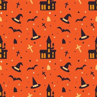 Modello senza cuciture di halloween con cappello da strega e tombe di pipistrelli casa spaventosi texture vettoriale senza fine