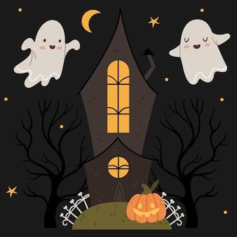Set di halloween simpatici fantasmi volano intorno a una casa gotica zucca di halloween atmosfera autunnale cielo notturno