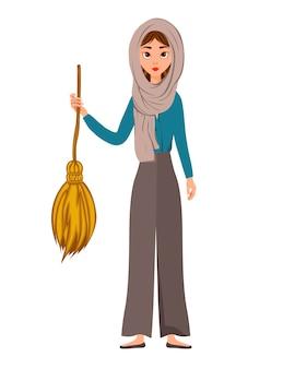 Insieme di personaggi femminili di halloween. ragazza con la scopa in mano. illustrazione vettoriale.