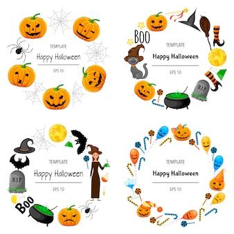 Halloween set di cornici per il tuo testo con attributi tradizionali. stile cartone animato. illustrazione.