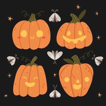 Insieme di halloween. divertente halloween zucchesmothautumn mood cielo notturno