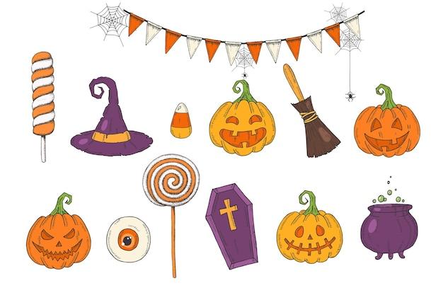 Set di halloween con jack zucca disegnato a mano, cappello da strega, scopa, dolci, mais candito, ghirlanda festiva con web, caramelle, lecca-lecca, bara, pentola con pozione in stile schizzo. buon halloween. dolcetto o scherzetto