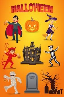 Set di halloween con bambini vestiti in costume di halloween, zucca, pietra tombale e casa stregata su sfondo arancione