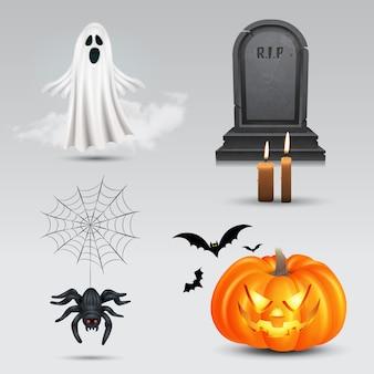Halloween impostato con zucca, fantasma volante, lapide e ragno su sfondo bianco.