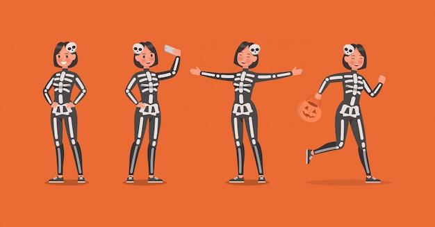 Costumi di scheletro di halloween con set di caratteri di zucca