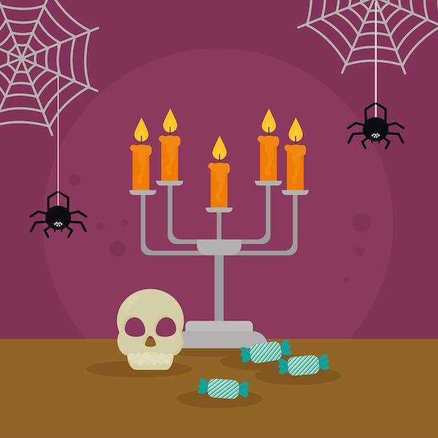 Teschio di halloween e lampadario