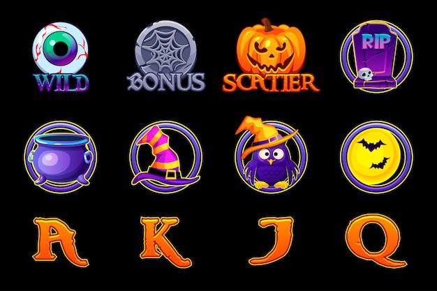 Icone di slot di halloween. imposti le icone per le slot machine nello stile di halloween