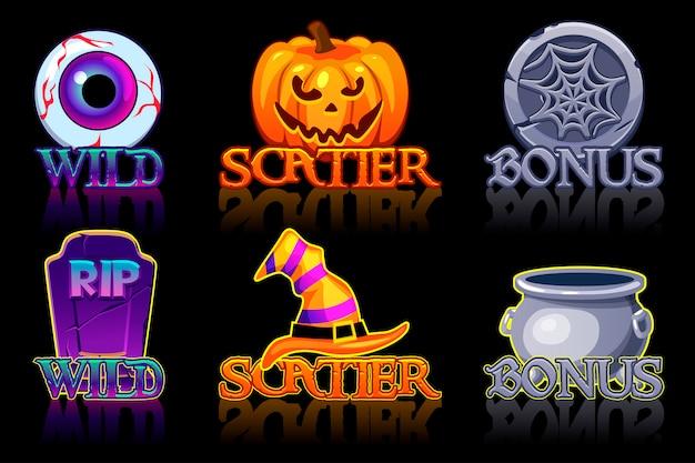 Icone di slot di halloween. icone wild, bonus e scatter per slot machine in stile halloween