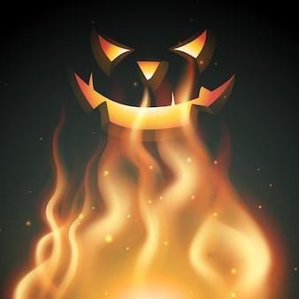 Fantasma sorridente di halloween in fiamme