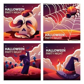 Raccolta di modelli di social media di halloween