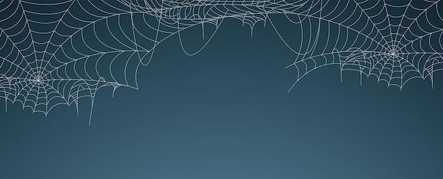 Banner di ragnatela di halloween, sfondo di ragnatela