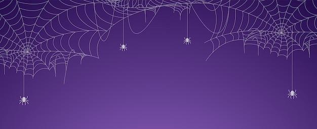 Banner di ragnatela di halloween con ragni, sfondo di ragnatela