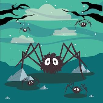 Scene di ragni di halloween