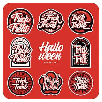 Tipografia personalizzata del pacchetto di adesivi di halloween