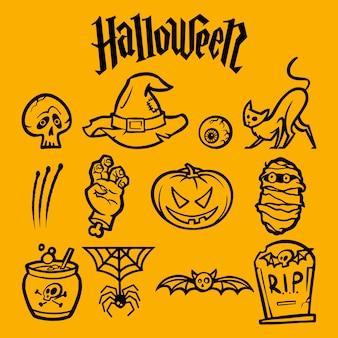 Pacchetto di adesivi di halloween. icone lineari.