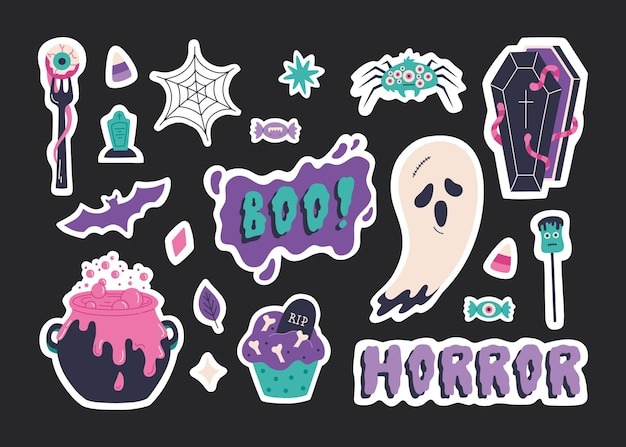 Elementi stabiliti dell'autoadesivo di halloween, illustrazione spaventosa disegnata a mano. simpatica collezione di badge con fantasmi, pipistrelli, calderoni, cupcake spettrali e calligrafia boo. simboli di vacanza raccapriccianti. modello vettoriale, sfondo