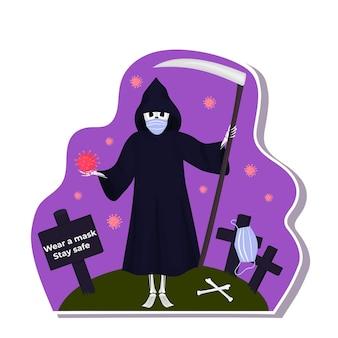 Adesivi di halloween durante il coronavirus. la morte con la falce indossa una maschera protettiva.