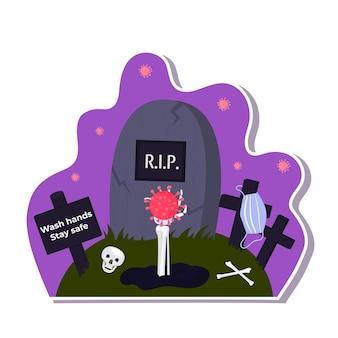 Adesivi di halloween durante il coronavirus. la mano di scheletro spunta dalla tomba