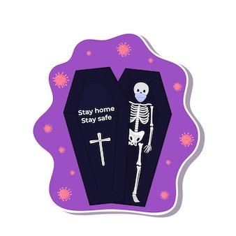 Adesivi di halloween durante il coronavirus. lo scheletro indossa una maschera protettiva.