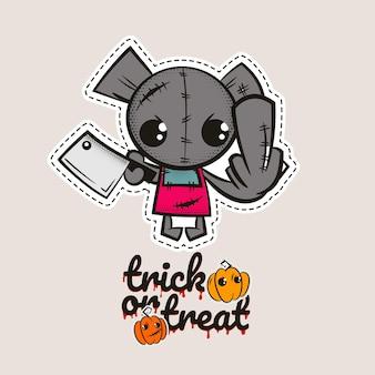 Halloween punto orso zombie bambola voodoo orso malvagio mostro cucito dolcetto o scherzetto zucche