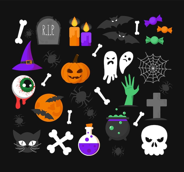 Set di roba di halloween. pipistrello, fantasma, candela e caramella isolati. zucca horror, simbolo di ottobre. dolcetto o scherzetto, elemento cimitero e gatto nero.