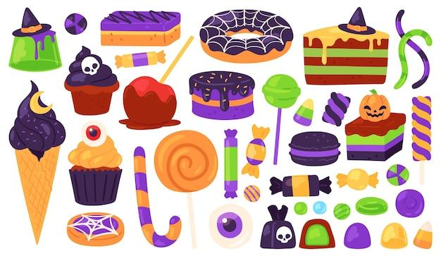 Dolci di halloween. dolcetto o scherzetto caramelle e dessert con decorazioni spettrali, cappello da strega, zucca, ragnatela. insieme di vettore di vacanza di autunno bambini. illustrazione di caramelle di halloween e dolci spettrali