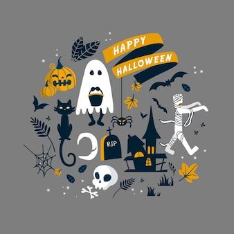 Raccolta di simboli di halloween in stile design piatto