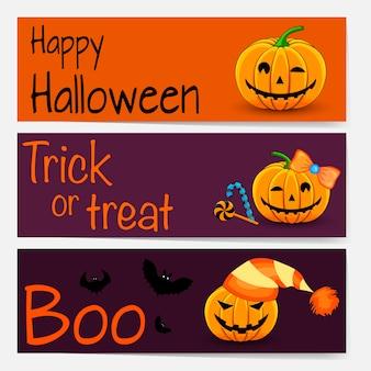 Modello di halloween per il testo con attributi di vacanza. stile cartone animato.