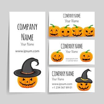 Modello di halloween per il tuo biglietto da visita. stile cartone animato.