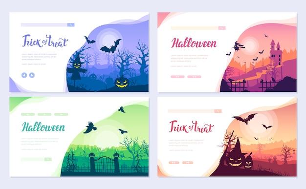 Insieme della carta dell'opuscolo di tempo di halloween