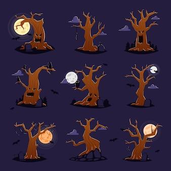 Albero di halloween vettore carattere spaventoso cime degli alberi dell'orrore nella foresta spettrale illustrazione set di legno forestale o mostro di quercia diabolica di incubo isolato su sfondo