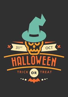 Distintivo di saluto di halloween dolcetto o scherzetto