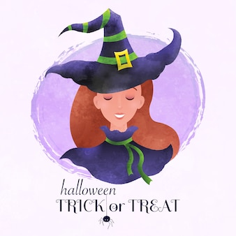 Illustrazione di concetto di saluto di halloween dolcetto o scherzetto con il ritratto grazioso della strega nel fumetto