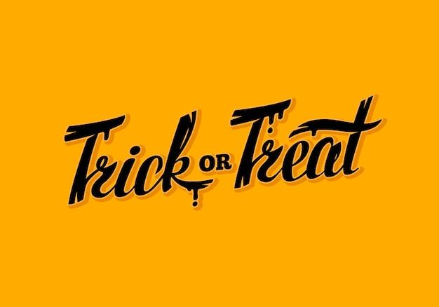 Illlustration della cartolina d'auguri dell'iscrizione di scherzetto o dolcetto di halloween