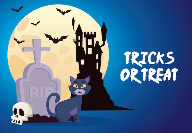 Trucchi o scherzetti di halloween scritte con castello e gatto nel cimitero