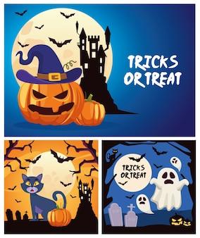 Trucchi o scherzetti di halloween con scritte in castello e fantasmi galleggianti