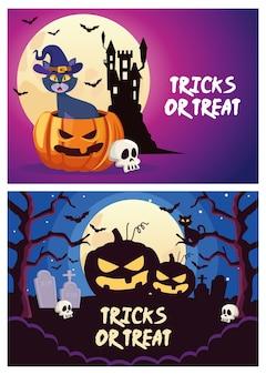Trucchi o scherzetti di halloween scritte con gatto e zucca nell'illustrazione di vettore di scene del cimitero