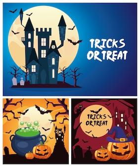 Trucchi o scherzetti di halloween scritte con calderone e zucche nell'illustrazione di vettore di scene del castello