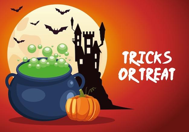 Trucchi o scherzetti di halloween scritte con calderone strega e castello