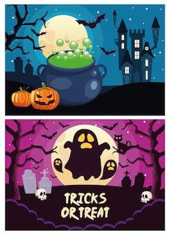 Trucchi o scherzetti di halloween con scritte con fantasmi e scene di castelli