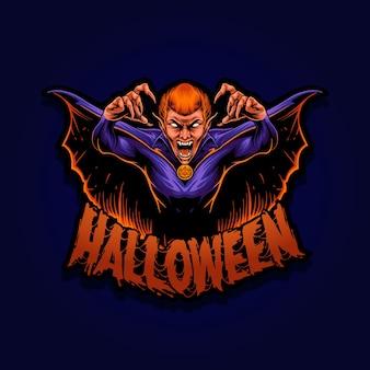Carattere della mascotte dell'illustrazione del vampiro di halloween