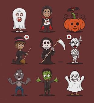Personaggi vettoriali di halloween ambientati in stile cartone animato vettore premium
