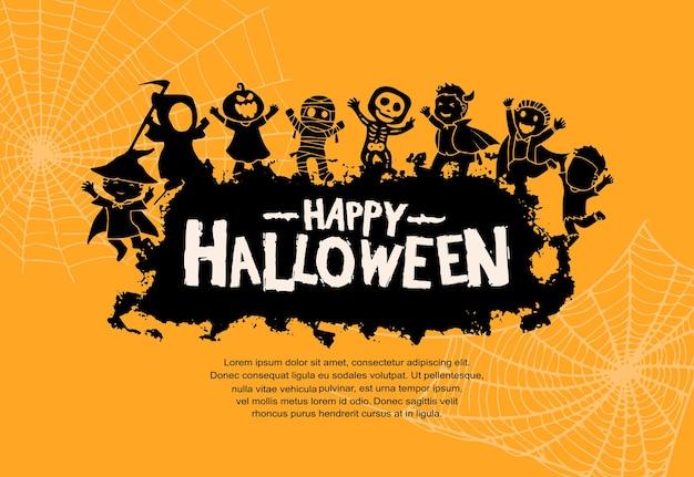 Disegno vettoriale di halloween con sagoma di mostri su sfondo arancione